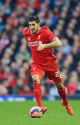 LIVERPOOL, ENGLAND - Sunday, March 8, 2015: Liverpool's Emre Can in action against Blackburn Rovers during the FA Cup 6th Round Quarter-Final match at Anfield. (Pic by David Rawcliffe/Propaganda)