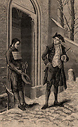 Valentin Hauy (1745-1822) French educationalist, giving alms to a blind beggar. Hauy devoted most of his life to the education of the blind, opening a school for the blind in Paris in 1784. From 'Le Journal de la Jeunesse' (Paris, 1883). Engraving.