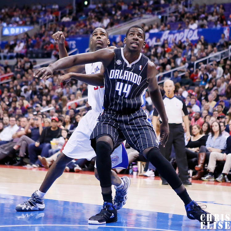 06 January 2014: Orlando Magic power forward Andrew Nicholson (44) vies for the rebound with Los Angeles Clippers power forward Antawn Jamison (33) during the Los Angeles Clippers 101-81 victory over the Orlando Magic at the Staples Center, Los Angeles, California, USA.