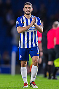 Neal Maupay (Brighton) thanking the Brighton & Hove Albion FC supporters following the 2-2 Premier League match between Brighton and Hove Albion and Wolverhampton Wanderers at the American Express Community Stadium, Brighton and Hove, England on 8 December 2019.