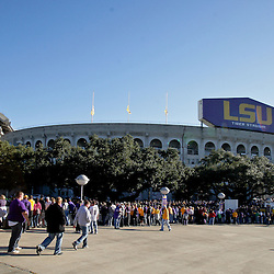 Oct 31, 2009; Baton Rouge, LA, USA;  LSU Tigers fans outside prior to kickoff of a game against the Tulane Green Wave at Tiger Stadium.  Mandatory Credit: Derick E. Hingle