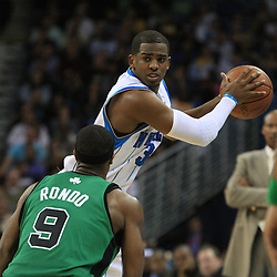 11 February 2009:  New Orleans Hornets guard Chris Paul (3) is defended by Boston Celtics guard Rajon Rondo (9) during a 89-77 loss by the New Orleans Hornets to the Boston Celtics at the New Orleans Arena in New Orleans, LA.