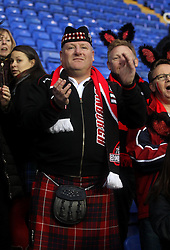 Edinburgh fans celebrate - Photo mandatory by-line: Robbie Stephenson/JMP - Mobile: 07966 386802 - 05/04/2015 - SPORT - Rugby - Reading - Madejski Stadium - London Irish v Edinburgh Rugby - European Rugby Challenge Cup