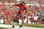 Tampa Bay Buccaneers tight end Timothy Wright (81) scores during the Buccaneers 27-6 win over the Buffalo Bills at Raymond James Stadium on Dec. 8, 2013   in Tampa, Florida.        ©2013 Scott A. Miller