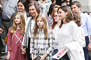 Crown Princess Leonor, Queen Sofia of Spain, Princess Sofia, Queen Letizia of Spain, Victoria Federica de Marichalar, Paloma Rocasolano are seen after going to see the 'Billy Elliot' theatre play on May 19, 2018 in Madrid, Spain