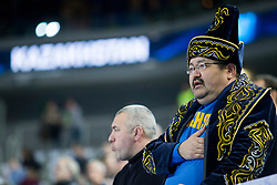 Supporter of Kazakhstan during futsal match between National teams of Kazakhstan and Russia at Day 5 of UEFA Futsal EURO 2018, on February 3, 2018 in Arena Stozice, Ljubljana, Slovenia. Photo by Urban Urbanc / Sportida