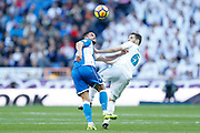 Real Madrid's Spanish defender Nacho Fernandez heads the ball during the Spanish championship Liga football match between Real Madrid CF and RC Deportivo on January 21, 2018 at Santiago Bernabeu stadium in Madrid, Spain - Photo Benjamin Cremel / ProSportsImages / DPPI