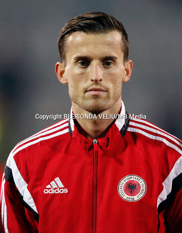 Albanian National soccer team player Ermir Lenjani  prior to the International friendly soccer match Albania vs Georgia held in Tirana, Albania on 16 November 2015.
