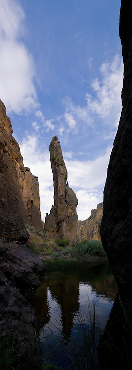 Erie shaped formations known as hoodoos, tower over the East Fork of the Owyhee River at its confluence with the East fork, Idaho.