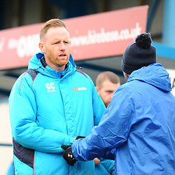 TELFORD COPYRIGHT MIKE SHERIDAN 1/1/2019 - Gavin Cowan greets Nuneaton coaching staff during the Vanarama Conference North fixture between AFC Telford United and Nuneaton Borough FC.