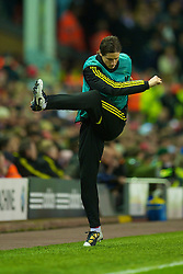 LIVERPOOL, ENGLAND - Wednesday, December 15, 2010: Liverpool's unused substitute Fernando Torres warms up during the UEFA Europa League Group K match against FC Utrecht at Anfield. (Photo by: David Rawcliffe/Propaganda)