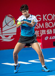 October 12, 2018 - Hong Kong, Hong Kong SAR, China - Garbiñe Muguruza of Spain beats Luksika Kumkhum (pictured) of Thailand to proceed to the semi-finals of the Hong Kong Tennis Open in Victoria Park Hong Kong. Muguruza took 2 sets 6-2,7-5 to win in 1 hour 45 mins. (Credit Image: © Jayne Russell/ZUMA Wire)