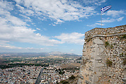 The Greek flag flies over Nafplion, Greece at the Palamidi Fortress.