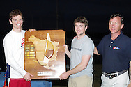 Mattias Schmid and Florian Reichstadter accept the award for 1st Place at the 470 Nationals in Coconut Grove, Florida