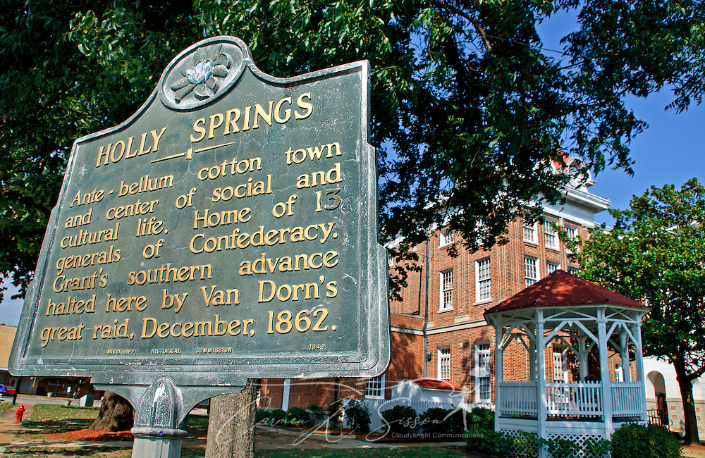The old courthouse graces the town square Sept. 25, 2011 in Holly Springs, Miss. At one time, the town produced more cotton, and had more lawyers, than any other city in Mississippi. The town also boasts a proud Civil War heritage. (Photo by Carmen K. Sisson/Cloudybright)