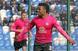 Shaquile Coulthirst of Peterborough United celebrates scoring his sides third goal - Mandatory by-line: Joe Dent/JMP - 16/04/2016 - FOOTBALL - Weston Homes Community Stadium - Colchester, England - Colchester United v Peterborough United - Sky Bet League One