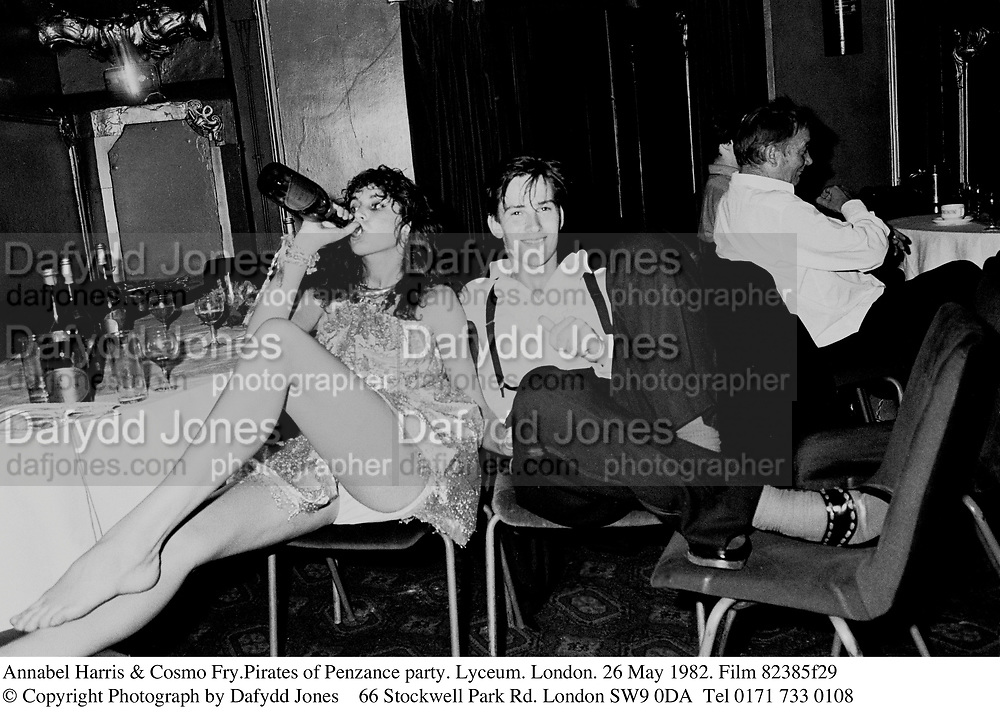 Annabel Harris & Cosmo Fry.Pirates of Penzance party. Lyceum. London. 26 May 1982. Film 82385f29<br />© Copyright Photograph by Dafydd Jones<br />66 Stockwell Park Rd. London SW9 0DA<br />Tel 0171 733 0108