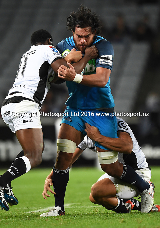 Steven Luatua during the Blues v Sharks Super Rugby match at Eden Park in Auckland, New Zealand. Saturday 16 April 2016. Copyright Photo: Andrew Cornaga / www.Photosport.nz