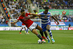 Tyler Blackett of Reading tackles Ryan Fredericks of Fulham - Mandatory by-line: Jason Brown/JMP - 16/05/2017 - FOOTBALL - Madejski Stadium - Reading, England - Reading v Fulham - Sky Bet Championship Play-off Semi-Final 2nd Leg