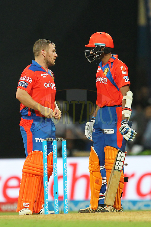 Aron Finch and Dhawal Kulkarni of Gujrat Lions during match 9 of the Vivo Indian Premier League ( IPL ) 2016 between the Mumbai Indians and the Gujarat Lions held at the Wankhede Stadium in Mumbai on the 16th April 2016Photo by Prashant Bhoot/ IPL/ SPORTZPICS