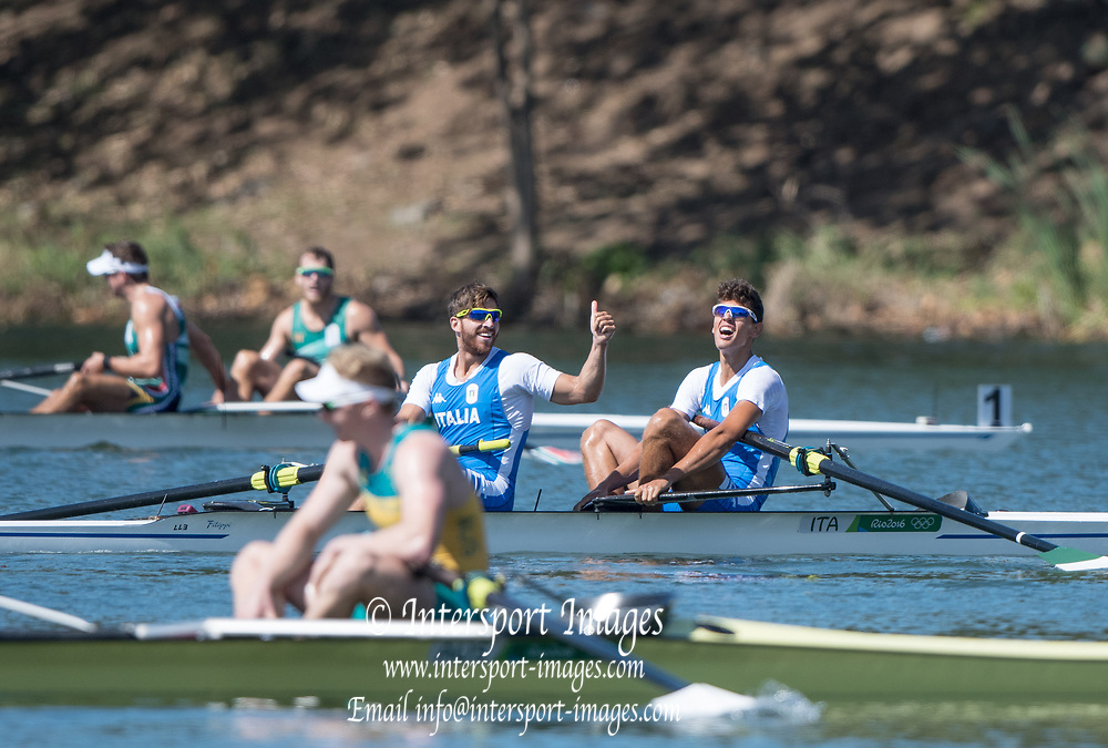 Rio de Janeiro. BRAZIL.  Bronze  Medalist. ITA M2-. Bow Giovanni ABAGNALE and Marco<br /> DI COSTANZO,   2016 Olympic Rowing Regatta. Lagoa Stadium,<br /> Copacabana,  &ldquo;Olympic Summer Games&rdquo;<br /> Rodrigo de Freitas Lagoon, Lagoa. Local Time 10:53:23  Thursday  11/08/2016 <br /> [Mandatory Credit; Peter SPURRIER/Intersport Images]