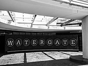 The entrance driveway sign for the Watergate Hotel in Washington, D.C.