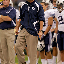 Sep 12, 2009; New Orleans, LA, USA;  BYU Cougars head coach Bronco Mendenhall against the Tulane Green Wave in the first quarter at the Louisiana Superdome.  Mandatory Credit: Derick E . Hingle-US PRESSWIRE