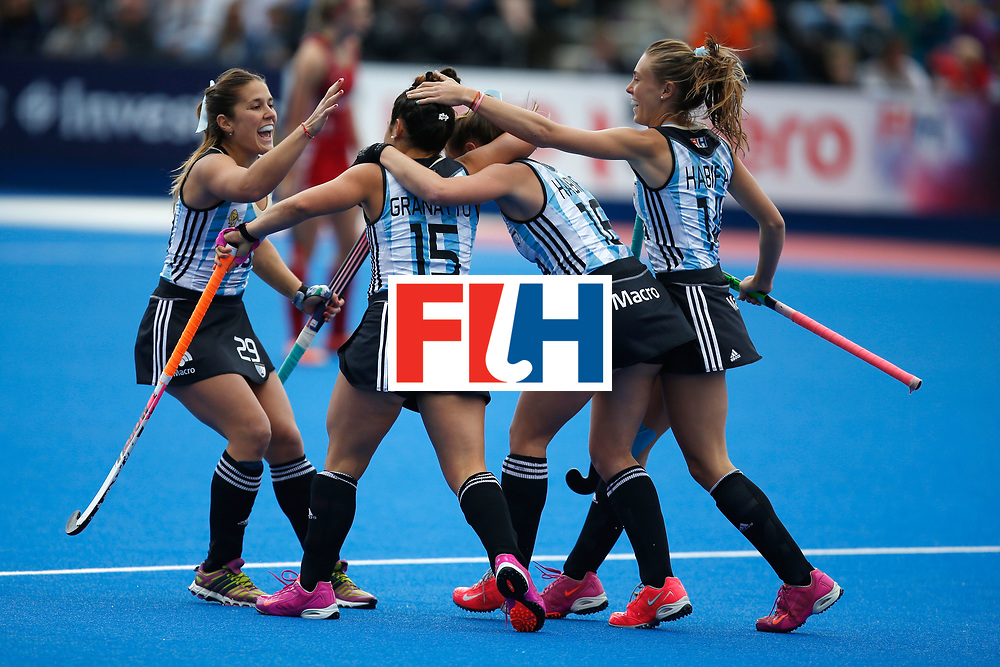 LONDON, ENGLAND - JUNE 18: Maria Granatto of Argentin is congratulated by teammates after scoring the game's opening goal during the FIH Women's Hockey Champions Trophy 2016 match between Great Britain and Argentina at Queen Elizabeth Olympic Park on June 18, 2016 in London, England.  (Photo by Joel Ford/Getty Images)