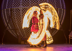 Celebrating the 250th anniversary of the circus, the contemporary circus Cirque Berserk starts its 2018 UK tour in Edinburgh. The international troupe includes over thirty jugglers, acrobats, aerialists, dancers, drummers and daredevil stuntmen.<br /> <br /> Pictured; Carina and Luciano Gabriel, Bolas dancers from Argentina