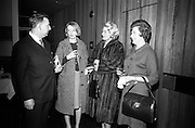 09/02/1966<br /> 02/09/1966<br /> 09 February 1966<br /> Airborne Travel Agency Film Reception at the Irish Sugar Co. Theatre at Earlsfort Terrace,<br /> Dublin. Pictured prior to the continental film show were (l-r): Mr. John D. O'Neill, Manager of Airborne Travel Agency; Miss Rhoda Kavanagh; Mrs K. Maughan and Mrs. O'Neill.