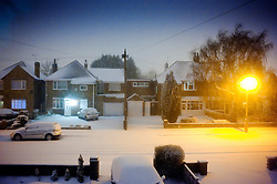 Snow on a suburban street, Leicester, England, UK