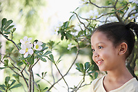 Girl (5-6 years) in garden portrait