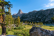Sunset view of Fin Dome, near Arrowhead Lake, John Muir Trail/Pacific Crest Trail; Sequoia Kings Canyon Wilderness; Kings Canyon National Park; Sierra Nevada Mountains, California, USA.