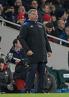 Football - 2017 / 2018 Premier League - Arsenal vs. Everton<br /> <br /> Sam Allardyce, Manager of Everton FC, pulls a surprised looking face as he watches his team struggle against Arsenal <br /> at The Emirates.<br /> <br /> COLORSPORT/DANIEL BEARHAM