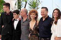 Actors Noam Imber, Yoav Rotman, director Eran Kolirin, actors Mili Eshet, Alon Pdut and Shiree Nadav-Naor at the TheBeyond The Mountains And Hills film photo call at the 69th Cannes Film Festival Sunday 15th May 2016, Cannes, France. Photography: Doreen Kennedy