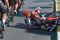 October 14, 2017 - Izmir, Turkey - Federico Zurlo from UAE Team EMirates and Eugenio Alafaci from Trek Segafredo Team crash near the Vestel City Gate during the fifth stage - the 166 km Vestel Selcuk to Izmir, the second last stage of the 53rd Presidential Cycling Tour of Turkey 2017..On Saturday, 14 October 2017, in Izmir, Turkey. (Credit Image: © Artur Widak/NurPhoto via ZUMA Press)