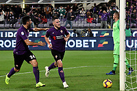 Jordan Veretout of Fiorentina celebrates with Marco Benassi of Fiorentina after scoring a goal  on penalty  during the Serie A 2018/2019 football match between ACF Fiorentina and AS Roma at stadio Artemio Franchi, Firenze, November 03, 2018 <br />  Foto Andrea Staccioli / Insidefoto
