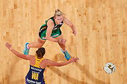 Lightning WA: Kelsey Browne defends.<br />  PERTH, AUSTRALIA - AUGUST 26: West Coast Fever vs the Sunshine Coast Lightning during the Suncorp Super Netball Grand Final match from Perth Arena - Sunday 26th August 2018 in Perth, Australia. (Photo by Daniel Carson/dcimages.org/Netball WA)