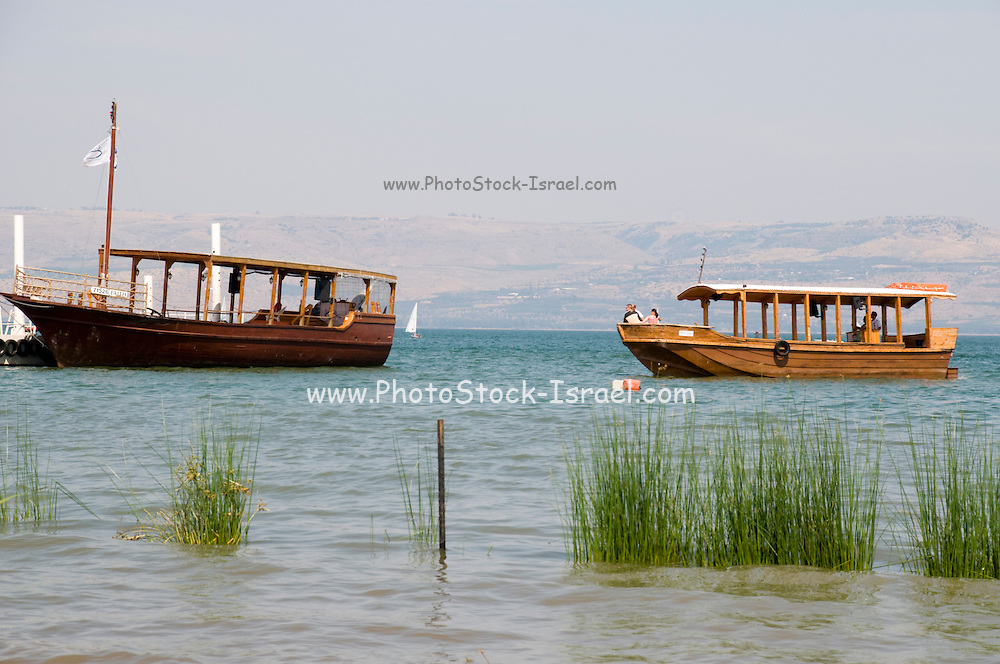 Israel, Sea of Galilee A one to one replica of Jesus' Boat. Old wooden boat uncovered in the sea of Galilee, dated to the time of Jesus Christ. The original boat is on display at Kibbutz Ginosar, Israel May 2009
