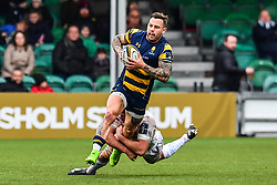 Francois Hougaard of Worcester Warriors is tackled by Julian Salvi of Exeter Chiefs - Mandatory by-line: Craig Thomas/JMP - 27/01/2018 - RUGBY - Sixways Stadium - Worcester, England - Worcester Warriors v Exeter Chiefs - Anglo Welsh Cup