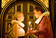 'Tis Pity She's a Whore<br /> by John Ford<br /> at the Sam Wannamaker Playhouse, Globe Theatre, London, Great Britain <br /> press photocall<br /> 25th October 2014 <br /> directed by Michael Longhurst <br /> <br /> <br /> <br /> Max Bennett as Giovanni <br /> Fiona Button as Annabella<br /> <br /> <br /> Photograph by Elliott Franks <br /> Image licensed to Elliott Franks Photography Services