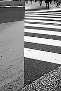 Street crossing at the intersection just in front of  the South Exit of  Tokyo's Shinjuku Station.