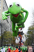25 November 2010- New York, NY-Kermit the Frog at The Macy's 84th Annual Thanksgiving Day Parade held along Central Park West on the UpperWest Side of New York City on November 25, 2010 in New York City.  Photo Credit: Terrence Jennings