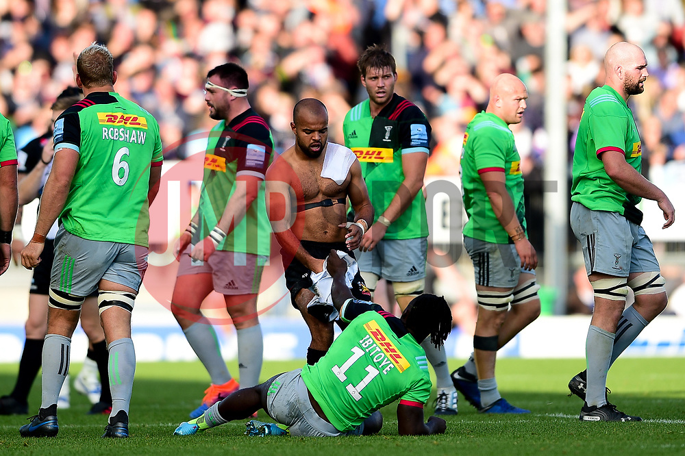 Tom O'Flaherty of Exeter Chiefs retrieves his shirt after attempting to keep playing after taking off it off after Gabriel Ibitoye of Harlequins kept hold of it during a ruck - Mandatory by-line: Ryan Hiscott/JMP - 19/10/2019 - RUGBY - Sandy Park - Exeter, England - Exeter Chiefs v Harlequins - Gallagher Premiership Rugby