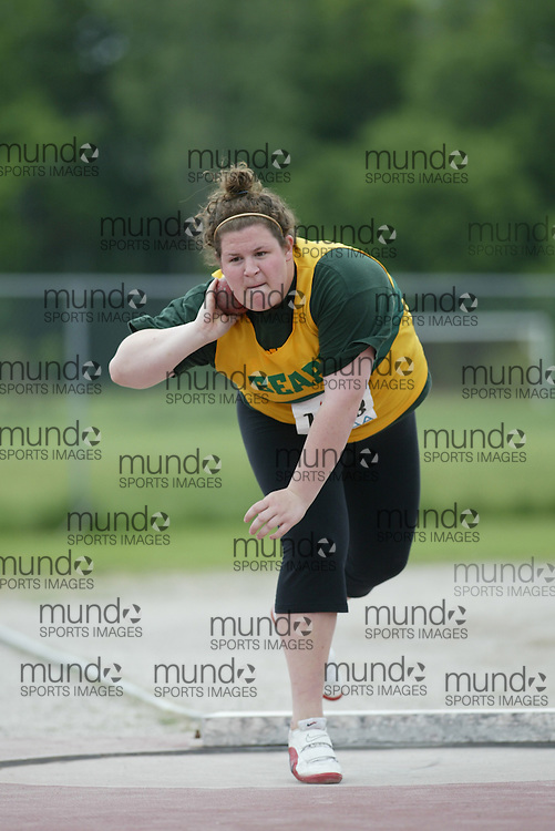 (London, Ontario}---04 June 2010) Allison Loyst of St.Joseph-Scollard - North Bay competing in the senior girl shot put at the 2010 OFSAA Ontario High School Track and Field Championships. Photograph copyright Sean Burges / Mundo Sport Images, 2010.