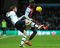 Axel Tuanzebe of Aston Villa challenges Tom Barkhuizen of Preston North End- Mandatory by-line: Nizaam Jones/JMP - 20/02/2018 - FOOTBALL - Villa Park - Birmingham, England - Aston Villa v Preston North End- Sky Bet Championship