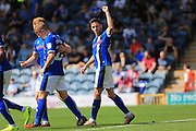 Ian Henderson celebrates scoring 2-1  during the EFL Sky Bet League 1 match between Rochdale and Peterborough United at Spotland, Rochdale, England on 6 August 2016. Photo by Daniel Youngs.