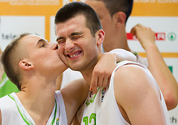 Klemen Prepelic and Marko Pajic during Open day of Slovenian U20 National basketball team before the European Chmpionship in Slovenia, on July 9, 2012 in Domzale, Slovenia.  (Photo by Vid Ponikvar / Sportida.com)