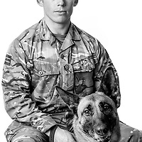 Daniel Gillham, Army - Royal Army Veterinary Lance Corporal, Dog Handler, Operations: Herrick, Toral, Myka is a High Assurance Search Dog,  Veterans Portrait Project UK Sennelager Germany