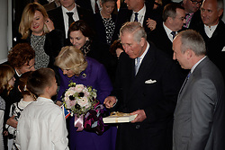 14.03.2016, Zagreb, CRO, der Britische Kronprinz Charles und seine Frau Camilla besuchen Kroatien, im Bild British Crown Prince Charles and his wife Camilla, the Duchess of Cornwall, are visiting Croatia as part of a regional tour that will include Serbia, Montenegro and Kosovo. They visited the Croatian National Theatre and participated in a programme to commemorate the 400th anniversary of the death of William Shakespeare. Dubravka Vrgoc, theater manager of the Croatian National Theatre welcomed the Royal couple. EXPA Pictures © 2016, PhotoCredit: EXPA/ Pixsell/ Goran Mehkek/Cropix/POOL<br /> <br /> *****ATTENTION - for AUT, SLO, SUI, SWE, ITA, FRA only*****